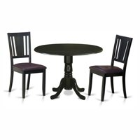 East West Furniture Dublin 3 Piece Drop Leaf Dining Table Set with Buckland Faux Leather Seat Chairs