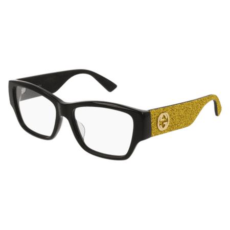 c544ad5425b Gucci GG0104OA 002 Black Gold Rectangle Opticals - Walmart.com