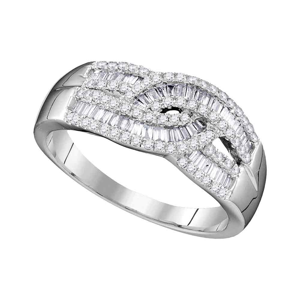 10k White Gold Womens Round Baguette Diamond Fashion Band Ring 5/8 Cttw