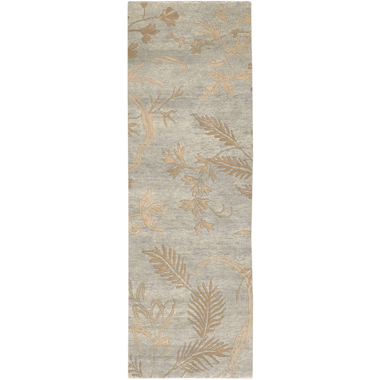 2.5' x 10' Sonora Botanical Mossy Stone and Khaki Wool Area Runner Throw Rug