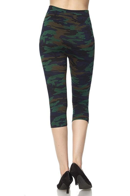 Juniors' Leggings Premium Knit Washed Camouflage Print Capri Leggings