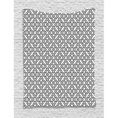 - Celtic Tapestry, Antique Art Monochrome Pattern with Intricate Knot Motifs Curved Twisted Lines, Wall Hanging for Bedroom Living Room Dorm Decor, 60W X 80L Inches, Black White, by Ambesonne