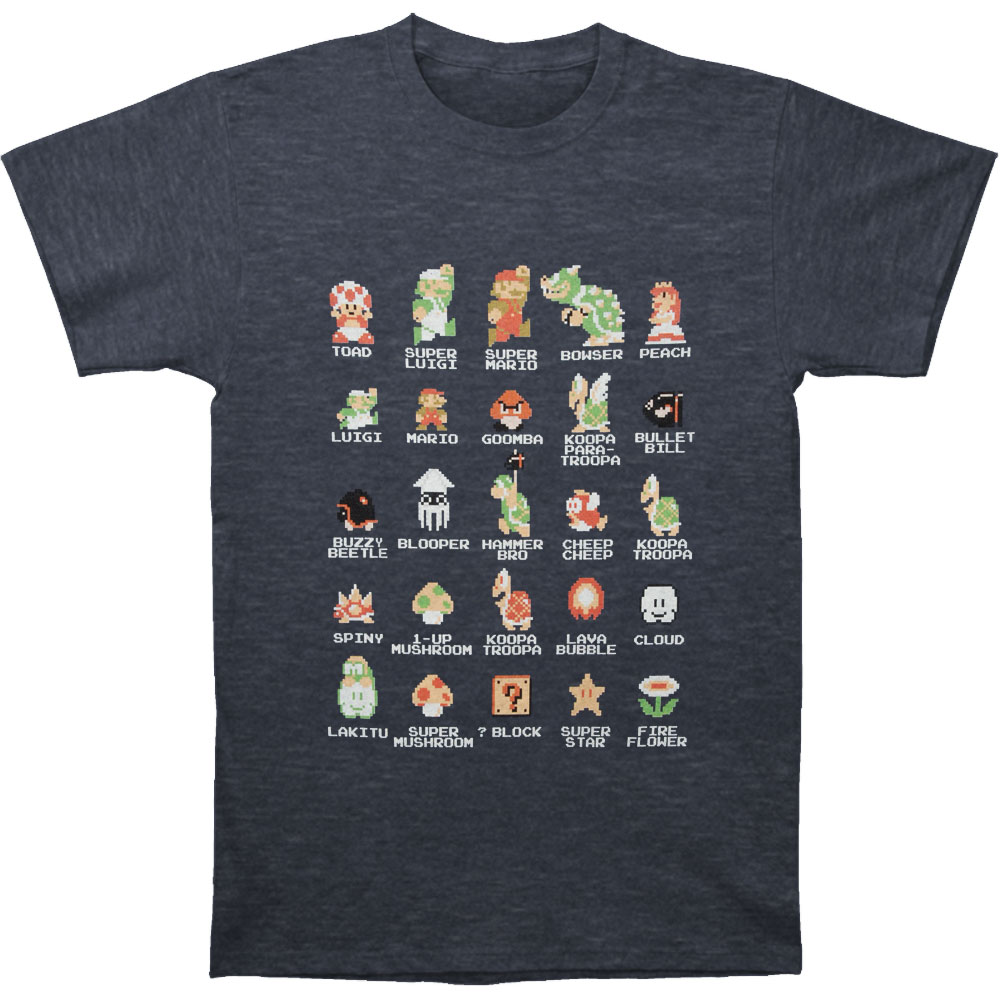 Mario Men's  Pixel Cast T-shirt Navy Heather