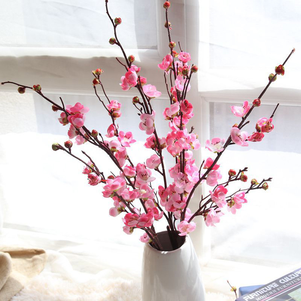 Artificial Fake Flowers Plum Blossom Floral Wedding Bouquet Home Decor Hot Pink