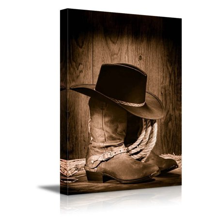 wall26 - Cowboy Black Hat ATOP Western Boots - Canvas Art Wall Decor - 32