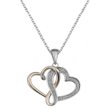 Stainless Steel Lock Pendant - Stainless Steel Interlocking Hearts Pendant, 18