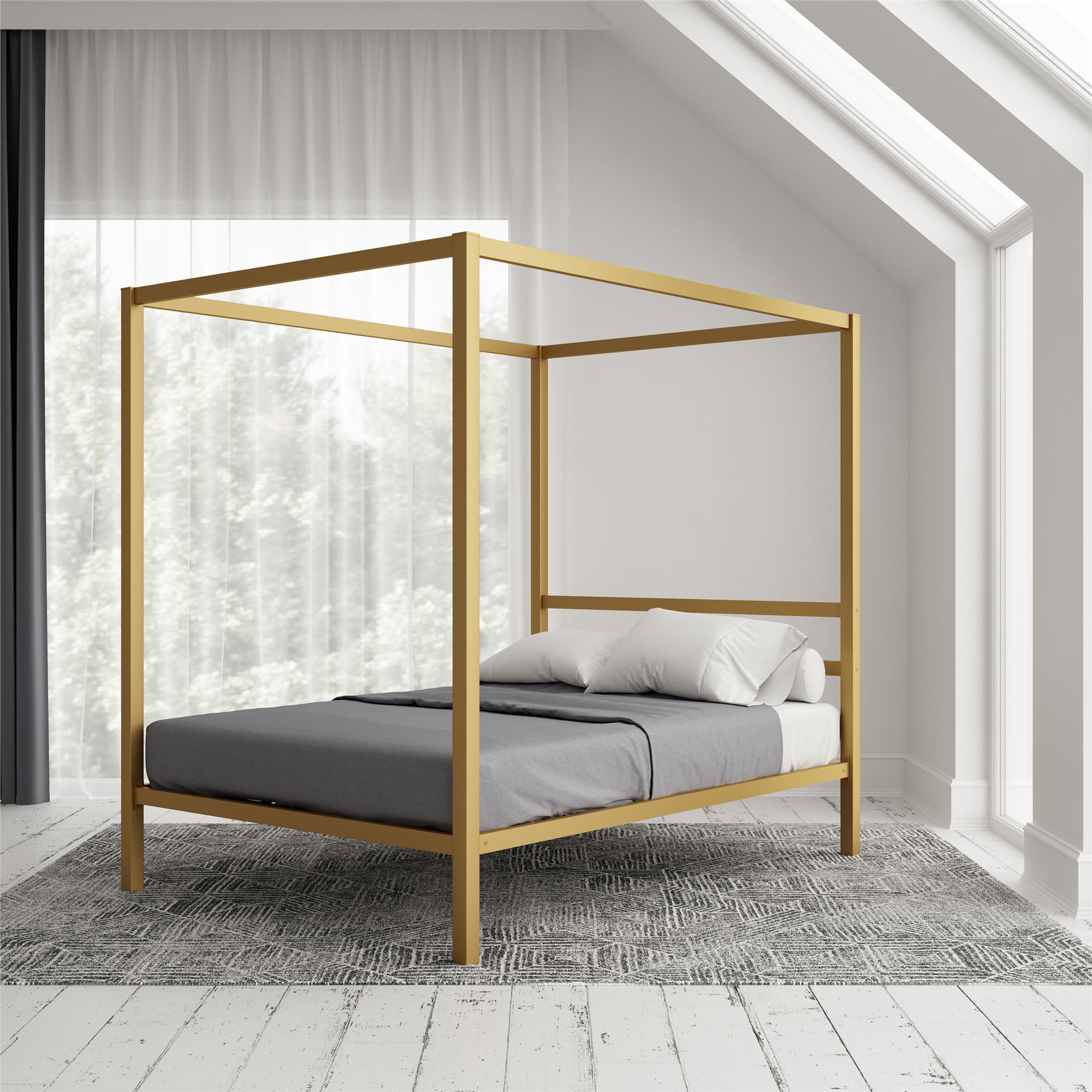 Dhp Modern Canopy Bed Gold Multiple Sizes Queen Walmart Com Walmart Com