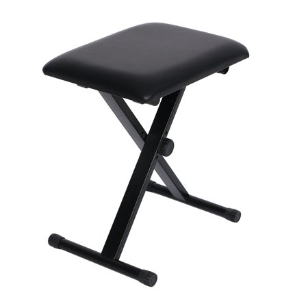 - Padded Adjustable X Style Folding Piano Stool Keyboard Bench Seat Chair with Cushion