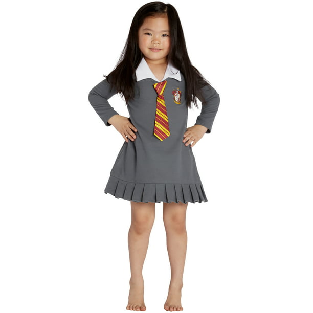 "HARRY POTTER ""Hermione Granger Gryffindor Halloween Toddler Costume Uniform Tie Pajama Gown"