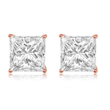 14k Rose Gold Princess 1 Ct White Cubic Zirconia Stud Earrings