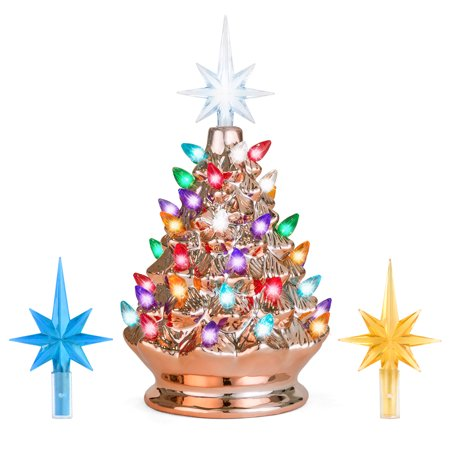 Best Choice Products 9.5in Ceramic Pre-Lit Hand-Painted Tabletop Christmas Tree Holiday Decor with Multicolored Lights, 3 Star Toppers, Rose Gold ()