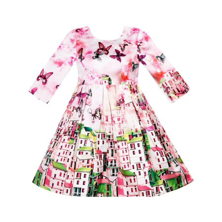 Girls Dress Satin Silk Butterfly City Building View Pink 4](Party City Girl)