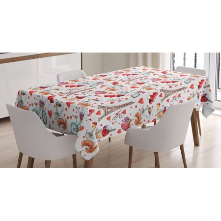 Romantic Tablecloth, Valentines Day Themed Paris Coffee Wine Parfumes Bikes with Heart Backdrop, Rectangular Table Cover for Dining Room Kitchen, 60 X 90 Inches, Red White and Pink, by Ambesonne