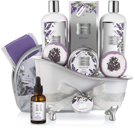 Gift Baskets Canada Spa - Bath Gift Basket Set for Women: Relaxing at Home Spa Kit Scented with Lavender and Jasmine - Includes Large Bath Bombs, Salts, Shower Gel, Body Butter Lotion, Bath Oil, Bubble Bath, Loofah and More