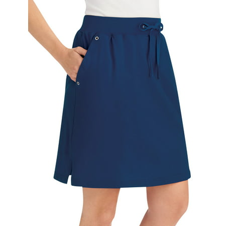 """Women's Casual Pull-On Sport Knit Skort with Grommet Side Pockets, 21""""L, Large, Navy"""