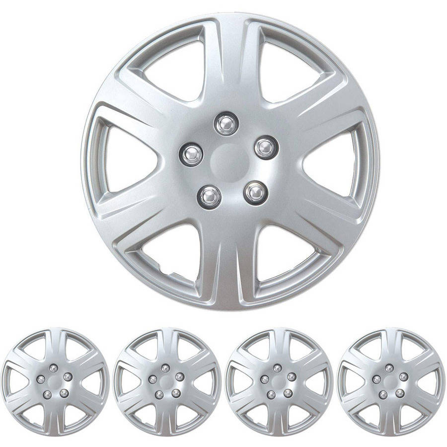 "BDK Hubcaps 15"" 4 Pieces, Silver, Toyota Corolla Style Replacement"