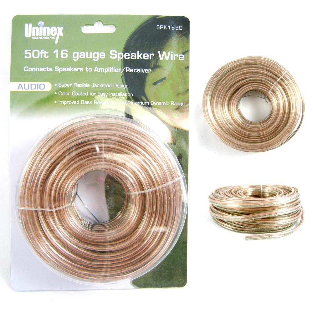 50 ft feet 16 gauge speaker cable wire audio car home audio amplifier  receiver ! - walmart com