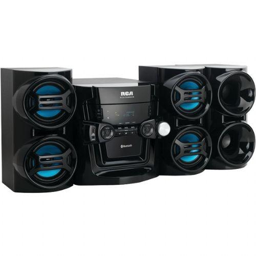 RCA Audio System with Bluetooth - 500W, AM/FM, USB, Clock/Timer Function, AUX/Game Inputs, 5 CD Changer - RS3965SB