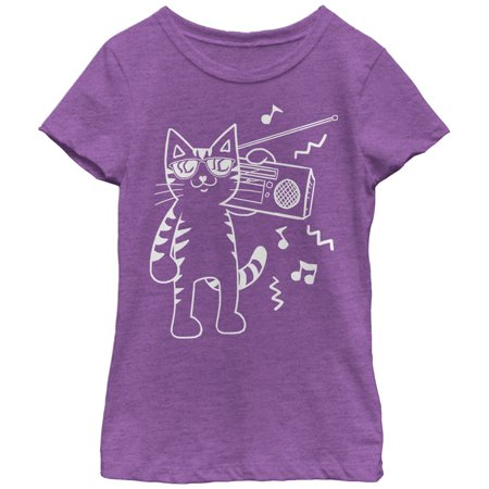 Girls' Boombox Cat Cartoon - Girl Holding Cat