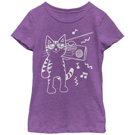 Girls' Boombox Cat Cartoon - Girl Holding Cat
