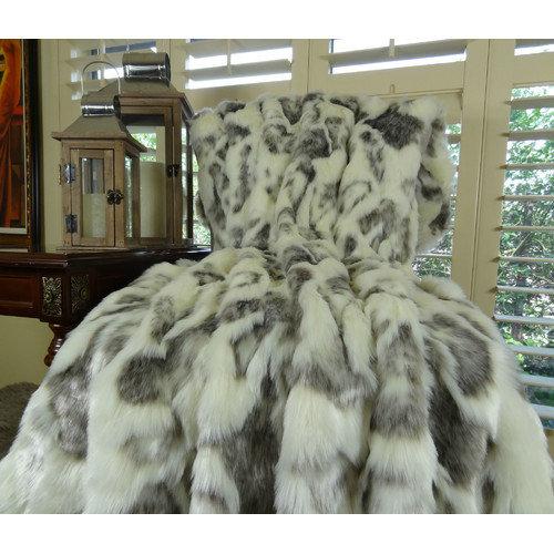Plutus Brands Rabbit Fur Handmade Throw