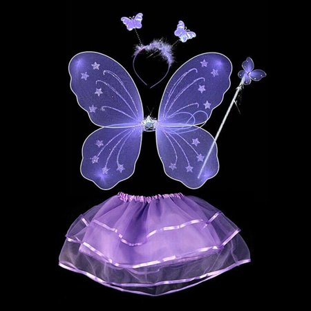 4Pcs Fairy Princess Kids Costume Sets Butterfly Wings Wand Headband Tutu Skirt](Wands And Wings)