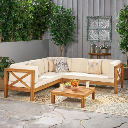 Beau 4 Piece Outdoor X-Back Wooden Sectional Set with Cushions, Teak Finish, Beige
