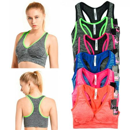 Seamless Sports Bra Racerback Padded Yoga Gym Stretch Soft Top Womens One (Best Sports Bra For Gym)
