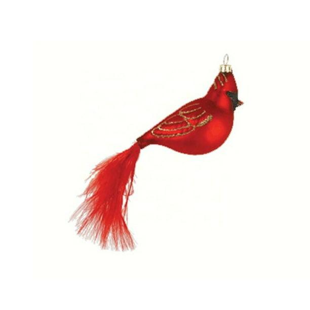 5 63 Red Cardinal Bird With Feather Tail Hand Blown Glass Hanging Figurine Ornament Walmart Com Walmart Com