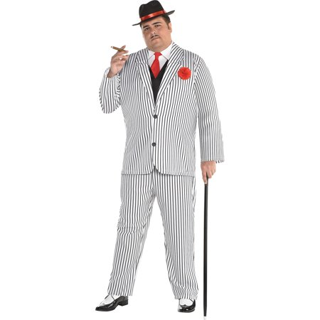 Gangster Halloween Costume Accessories (Amscan Gangster Halloween Costume for Men, Plus Size, with Included)