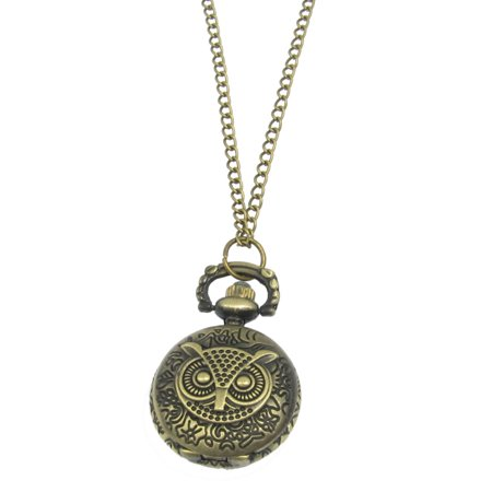 Unique Bargains Bronze Tone Flower Carved Owl Case Numbers Quartz Necklace Watch