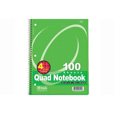 quad ruled 4 1 inch spiral notebook 100 ct pack of 3 bazic 100
