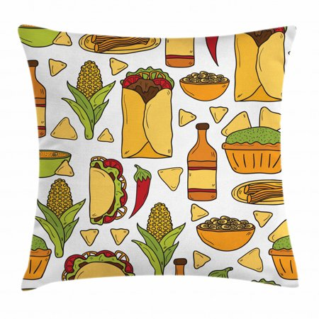 Mexican Throw Pillow Cushion Cover, Latin Food Chili Taco Nachos Burrito Tequila Rice Corns Best Supper, Decorative Square Accent Pillow Case, 18 X 18 Inches, Ginger Apricot Lime Green, by