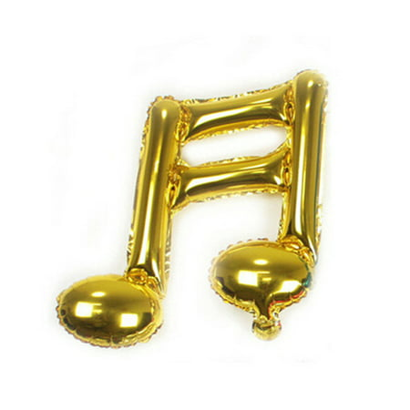 Music Note Foil Balloon Birthday Sixteen Note Mylar Balloons for Party Decoration (Gold) - Music Birthday Decorations