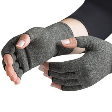 Arthritis Gloves - Men, Women Rheumatoid Compression Hand Glove for Osteoarthritis- Arthritic Joint Pain Relief - Carpal Tunnel Wrist Support - Open Finger, Fingerless Thumb for Computer Typing (Thumb Joint Support)