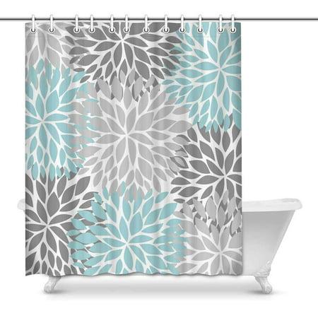 Crystal Flower Bath Light - MKHERT Dahlia Pinnata Flower Light Blue and Gradient Gray Decor Waterproof Polyester Bathroom Shower Curtain Bath Decorations 60x72 inch