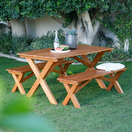 Picnic Table Set (Belham Living Borden Lake 5 ft. Wood Picnic Table Set)