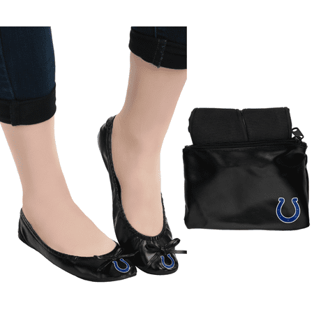 Indianaplolis Colts NFL Womens Foldable Flats Shoes with Clutch - Large ()