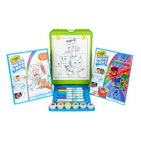 Crayola Color wonder PJ Mask Travel Easel With 30 Bonus pages, Full size color wonder markers and paints! Crayola Color Wonder Finger Paints