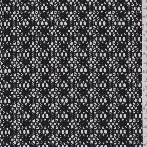 Black Lattice Crochet Lace, Fabric By the Yard