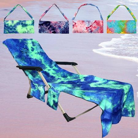 Moaere Portable Microfiber Beach Pool Sun Lounge Chair Cover Towel Bag with 2