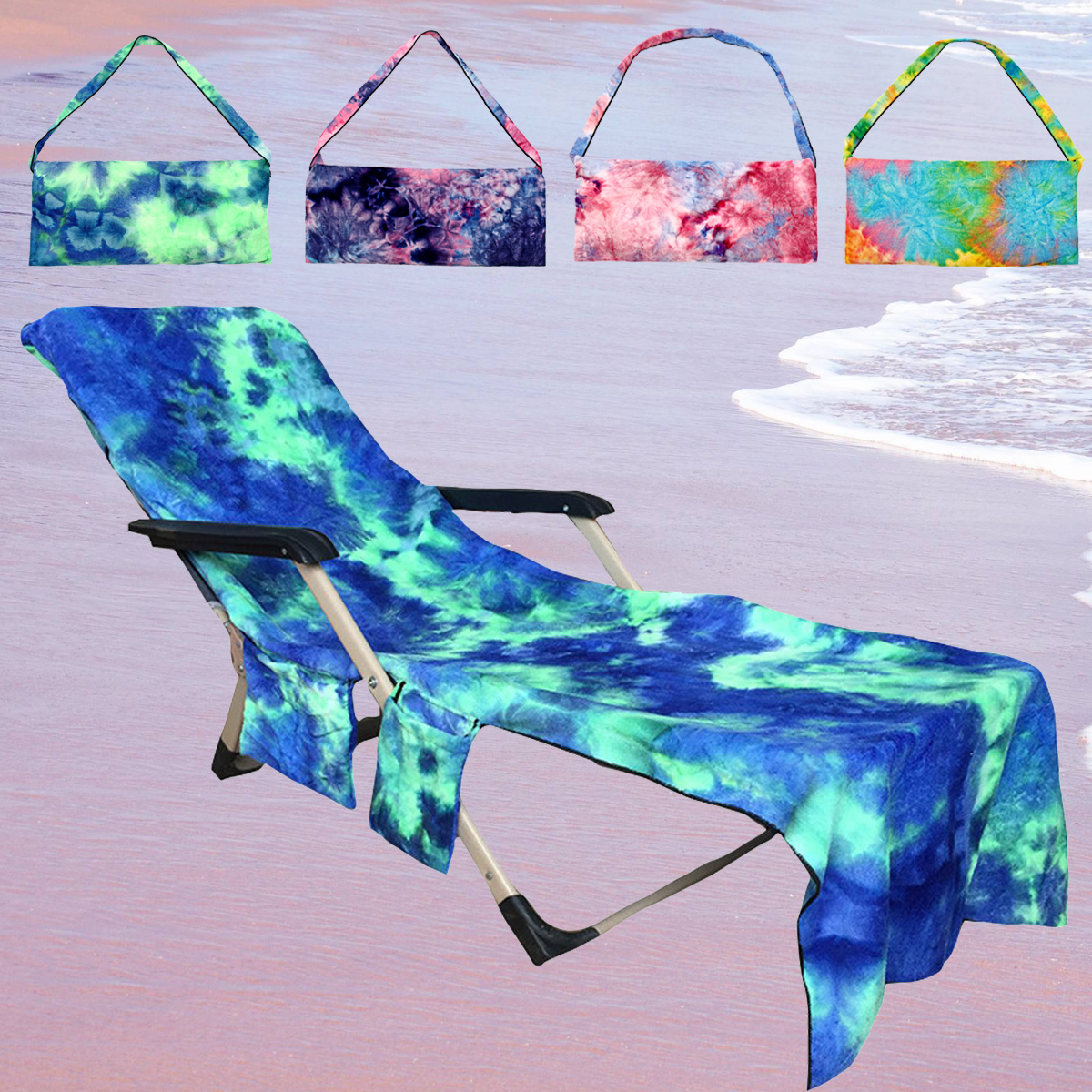 Moaere Portable Microfiber Beach Pool Sun Lounge Chair Cover Towel Bag with 2 Pocket