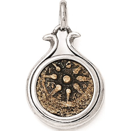 Leslies Fine Jewelry Designer 925 Sterling Silver & Bronze Antiqued Widows Mite Coin (18x25mm) Pendant Gift Chain Players Light Pendant