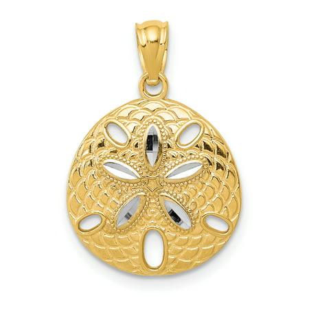 Gold Starfish Charm - 14k Yellow Gold Sand Dollar Sea Star Starfish Pendant Charm Necklace Shore Shell For Women
