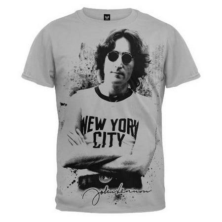 John Lennon Unisex Famous New York Image Men's T-Shirt Tee Gray/Black