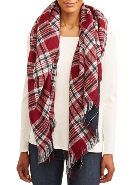 Twig & Arrow Women's Double Sided Oversized Blanket Plaid Square Scarf