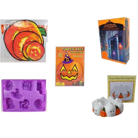 Halloween Fun Gift Bundle [5 Piece] - Classic Pumpkin Cutouts Set of 9 - 35 Count Skeleton Icicle-Style Light Set - Darice Pumpkin Face Fun Felt Kit - Witch - Happy  Jell-O Mold -  Ceramic Ghost Hea
