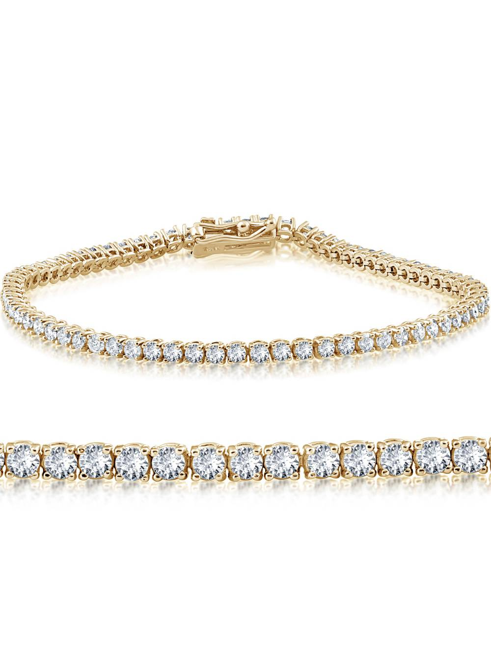 14K Yellow Gold 2 ct Diamond Tennis Bracelet 7""