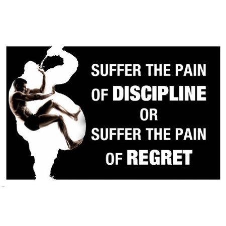 Back Pain Poster - Pain Discipline Quote Motivational Poster 24X36 Work Out Inspirational
