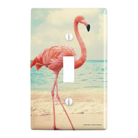 Flamingo Switchplate - Flamingo on Beach Starfish Retro Plastic Wall Decor Toggle Light Switch Plate Cover